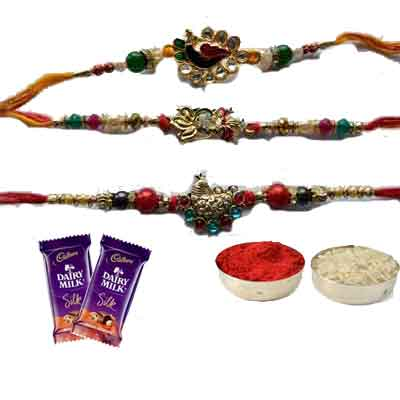 Set Of 3 Peacock Rakhi With Silk