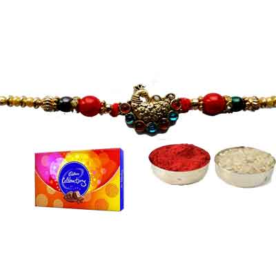 Peacock Rakhi For Brother With Celebration
