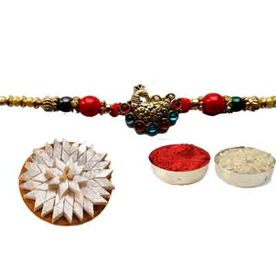Peacock Rakhi For Brother With Kaju Katli