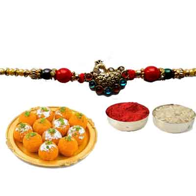 Peacock Rakhi For Brother With laddu