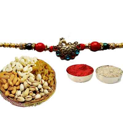 Peacock Rakhi For Brother With Mix Dry Fruits