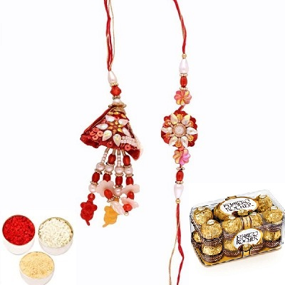 Awesome Rakhi Set for Bhaiya Bhabhi & Ferrero