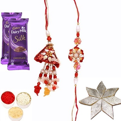 Awesome Rakhi Set for Bhaiya Bhabhi, Silk & Kaju Katli