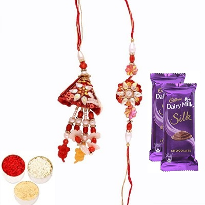 Awesome Rakhi Set for Bhaiya Bhabhi & Silk