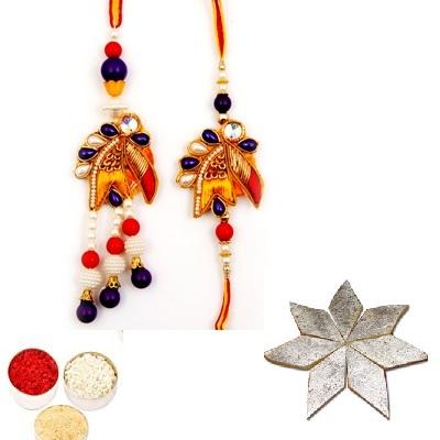 Designer Diamond Bhaiya Bhabhi Rakhi & Kaju Katli
