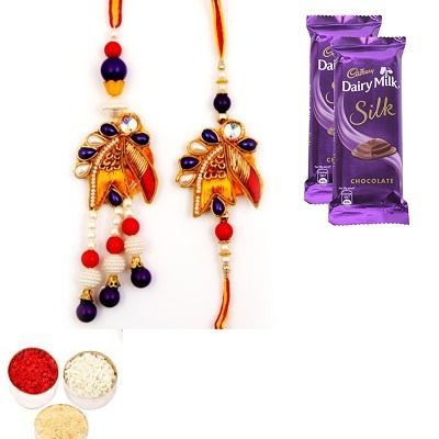 Designer Diamond Bhaiya Bhabhi Rakhi & Silk