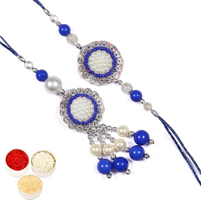 Silver And Blue Rakhis For Bhaiya Bhabhi