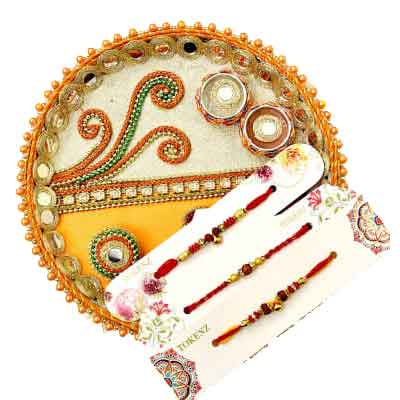 3 Rakhi with Rakhi Thali