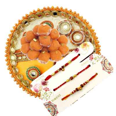 3 Rakhi with Pooja Thali & Laddu