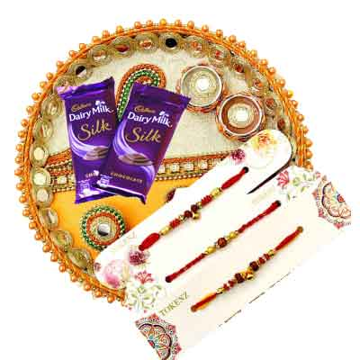 3 Rakhi with thali, Silk