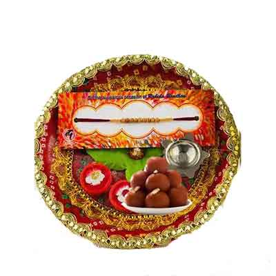 Beautiful Rakhi Thali with Gulab Jamun