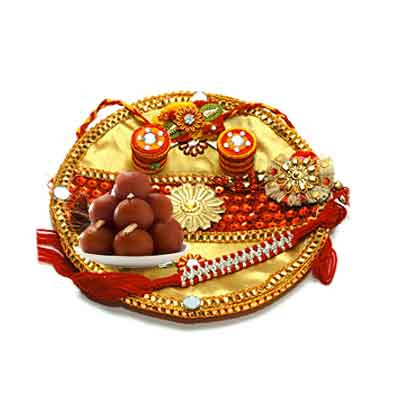 Decorated Rakhi Thali with Gulab Jamun