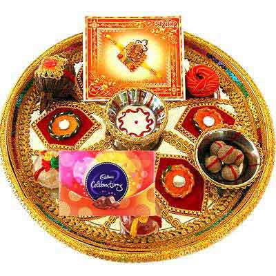 Decorative Rakhi Thali with Celebration