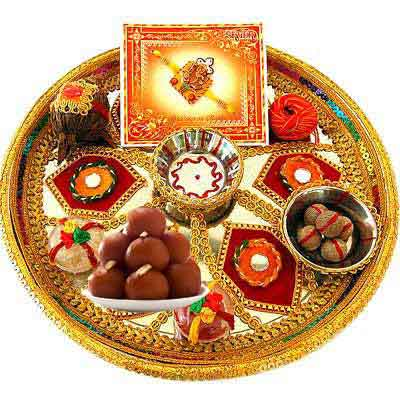 Decorative Rakhi Thali with Gulab Jamun