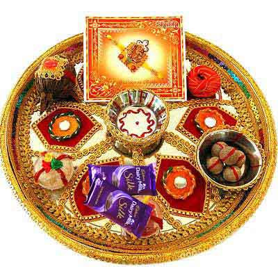 Decorative Rakhi Thali with Silk