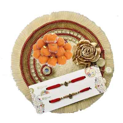 Fancy Rakhi Thali with 2 Rakhi Set, Laddu