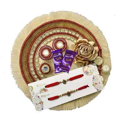 Fancy Rakhi Thali with 2 Rakhi Set, Silk