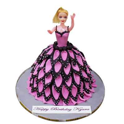 Pink Black Barbie Doll Cake
