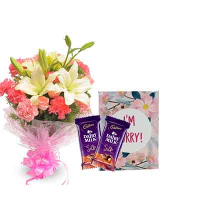 Mix Bouquet with Sorry Card & Chocolates