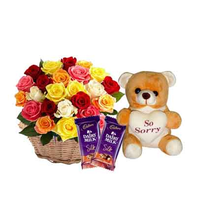 Mix Rose Basket with Sorry Teddy & Chocolates