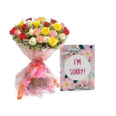 Mix Rose Bouquet with Sorry Card