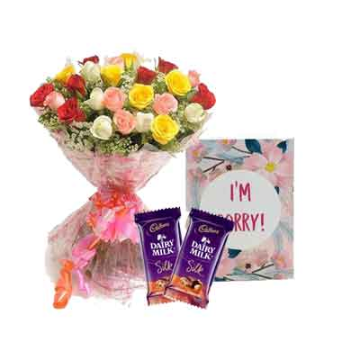 Mix Rose Bouquet with Sorry Card & Chocolates