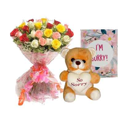 Mix Rose Bouquet with Sorry Teddy & Card