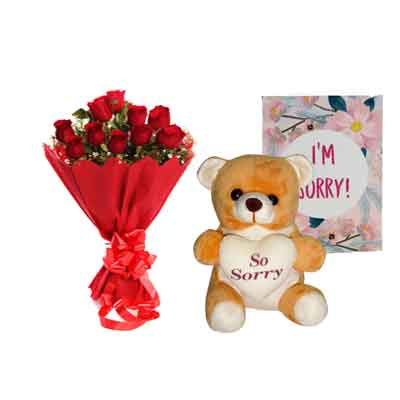 Rose Bouquet with Sorry Teddy & Card