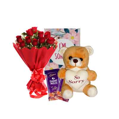 Rose Bouquet with Sorry Teddy, Card & Chocolates