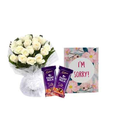 White Rose Bouquet with Sorry Card & Chocolates