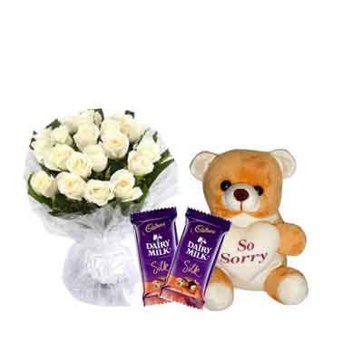 White Rose Bouquet with Sorry Teddy & Chocolates