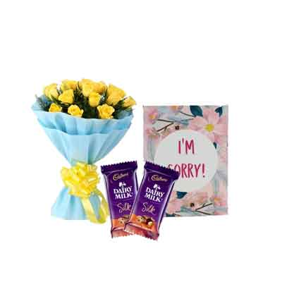 Yellow Roses with Sorry Card & Silk Chocolates