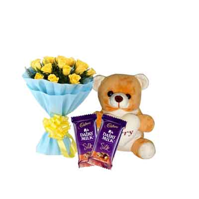 Yellow Roses with Sorry Teddy & Silk Chocolates