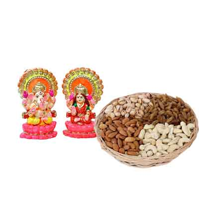 Laxmi Ganesh Idols with Dry Fruits