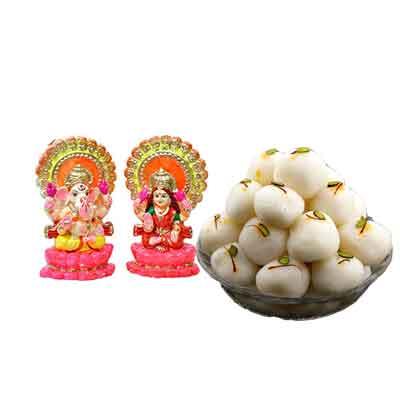Laxmi Ganesh Idols with Rasgulla