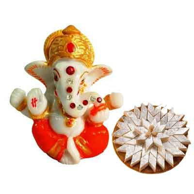 Lord Ganesh Idol with Kaju Katli