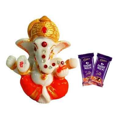 Lord Ganesh Idol with Silk