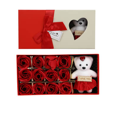 Red Roses with Teddy Bear Box