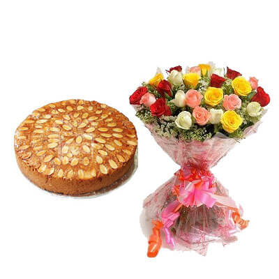 Vanilla Almonds Dry Cake with Mix Bouquet