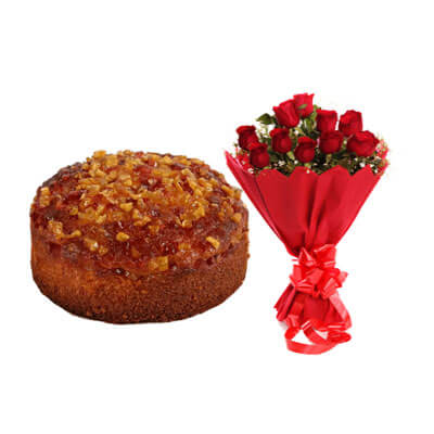 Mixed Fruit Dry Cake with Bouquet