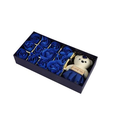 Blue Roses with Teddy Bear