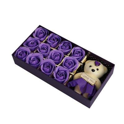 Purple Roses with Teddy Bear