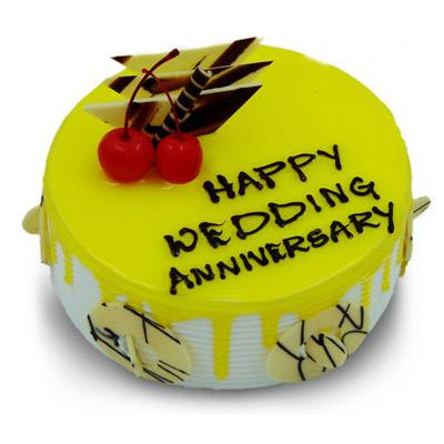 Happy Anniversary Pineapple Round Cake