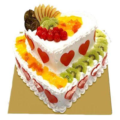2 Tier Heart Shape Fruit Cake