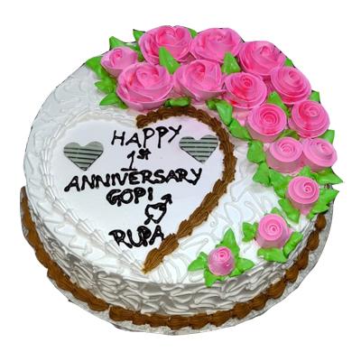 Eggless Happy Anniversary Strawberry Cake