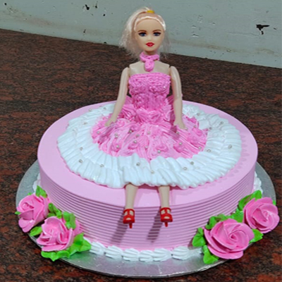 Eggless Strawberry Doll Cake