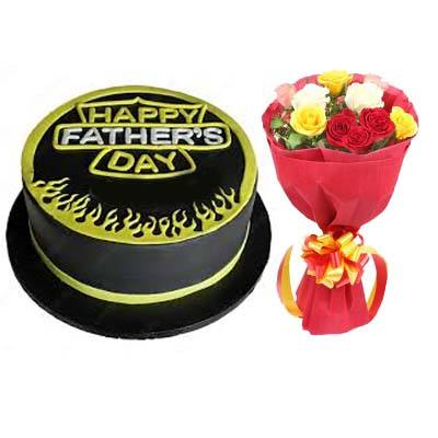 Delicious Fathers Day Cake with Bouquet