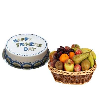 Fathers Day Milky Cake with Fruit Basket