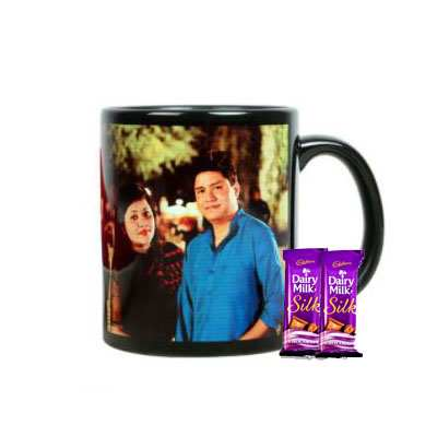 Valentine Black Photo Mug with Silk