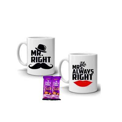 Valentine Couple Coffee Mug with Silk